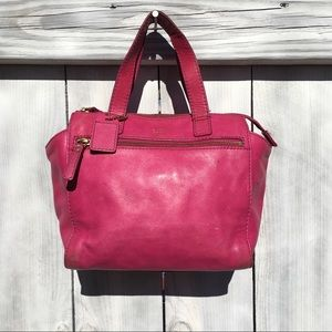 Fossil Pink Leather Satchel Bag, Small